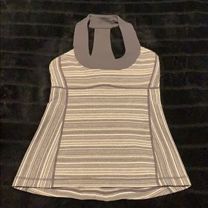 Lululemon -Gray striped top with built-in bra